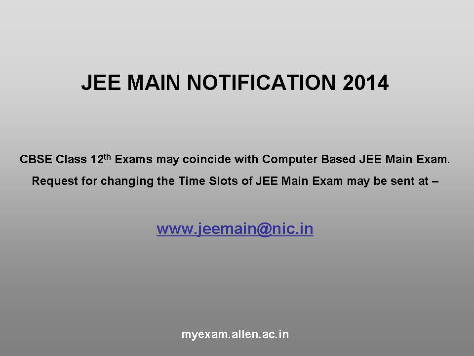 JEE MAIN Notification 2014