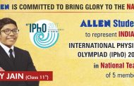 ALLEN Student Lay Jain to represent India in 48th International Physics Olympiad. The final round to be held in Yogyakarta, Indonesia