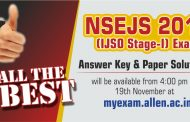 NSEJS 2017 Answer Keys & Solutions by ALLEN Career Institute will be Available on 19 Nov (Sunday)