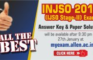 INJSO 2018 Answer Keys & Solutions by ALLEN Career Institute will be Available on 27 Jan