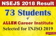 73 Students of ALLEN Career Institute qualified NSEJS 2018 Exam