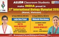 At Hanoi ALLEN's Lajja won Gold Medal and Vidushi won Silver Medal in IBO 2016 Final Round