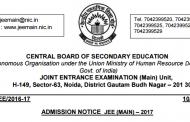JEE Main 2017 Admission Notice