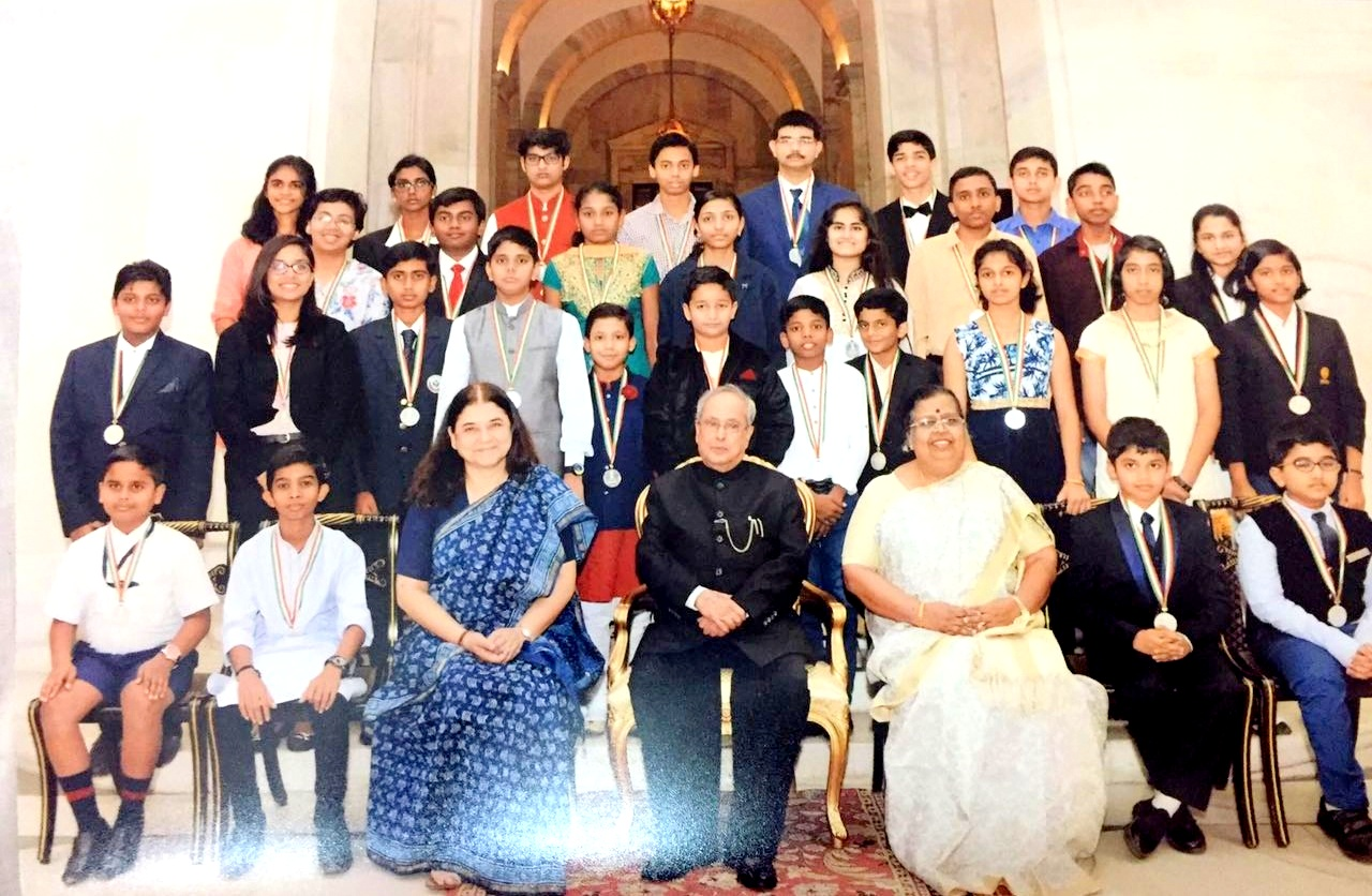 National Child Award winners with President Pranab Mukherjee