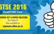 STSE Exam 2016 Answer Key with Paper Solution – ALLEN Career Institute