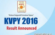 KVPY Aptitude Test 2016 Results have been announced