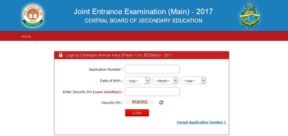 JEE Main 2017 Official Answer key