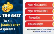 JEE Main 2017 Answer Key, Paper Solution & Video Solutions by ALLEN Career Institute
