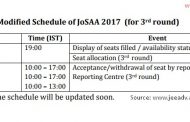 Important : Revised Schedule of JoSAA 2017  (3rd round onwards)