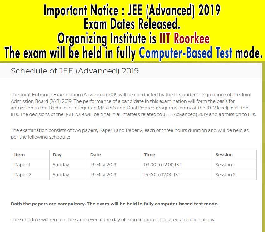 JEE Advanced 2019 Exam Date