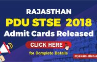 Rajasthan PDU STSE  2018 Admit Cards Released