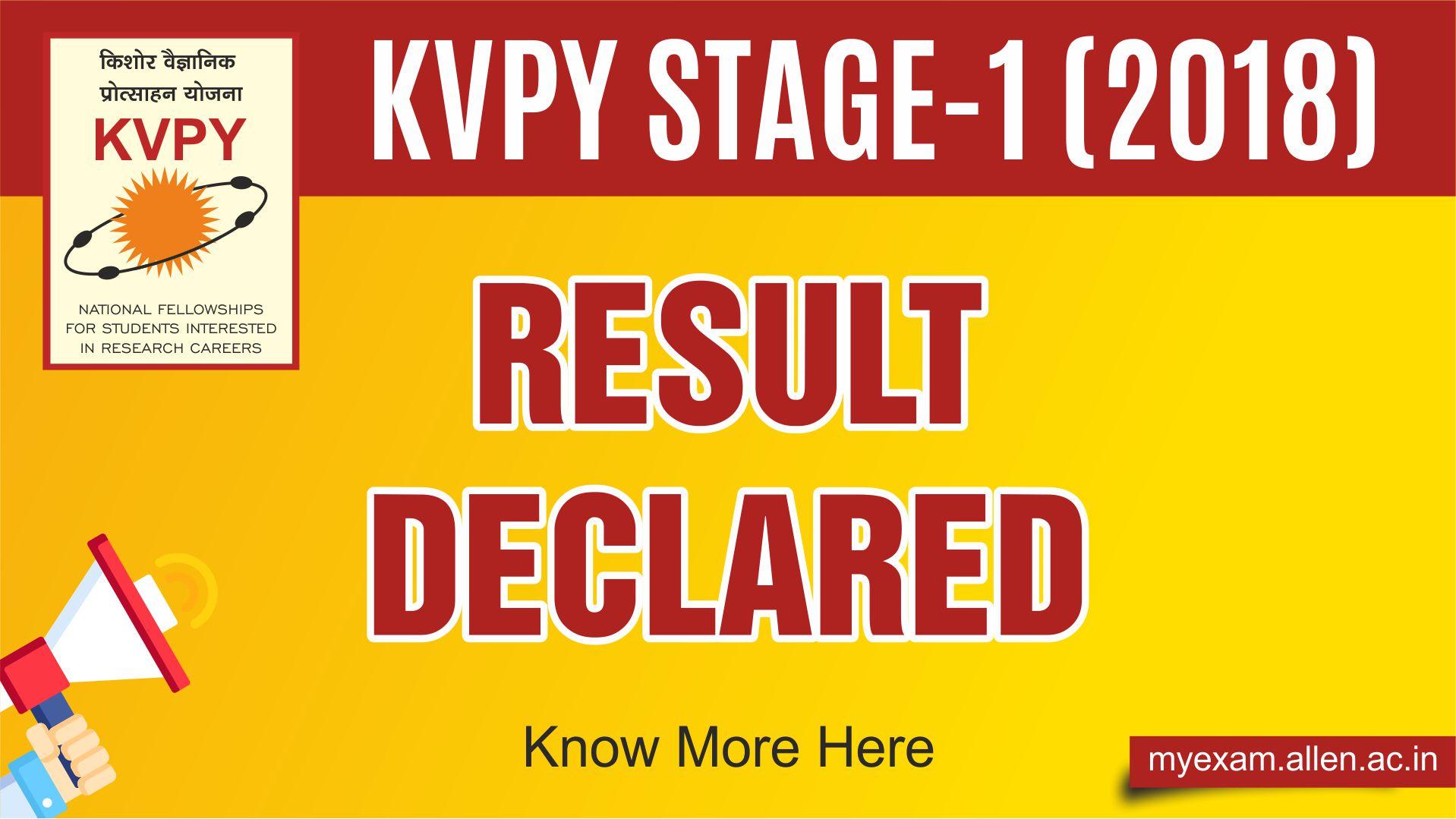 KVPY 2018 Stage I Result
