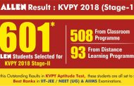601 Students of ALLEN Career Institute got success in KVPY Aptitude Test-2018