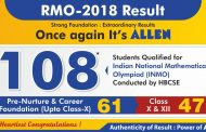 108 Students of ALLEN Career Institute outshine in RMO 2018 Result