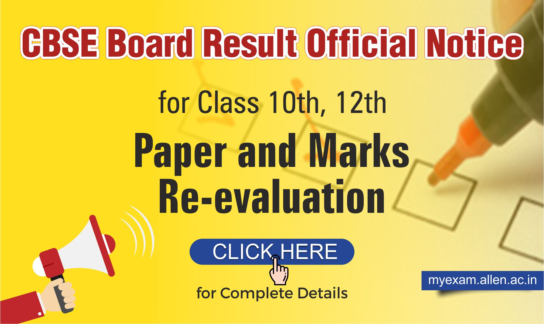 official notice for Revaluation of Class 10th & 12th Examination Marks 2019