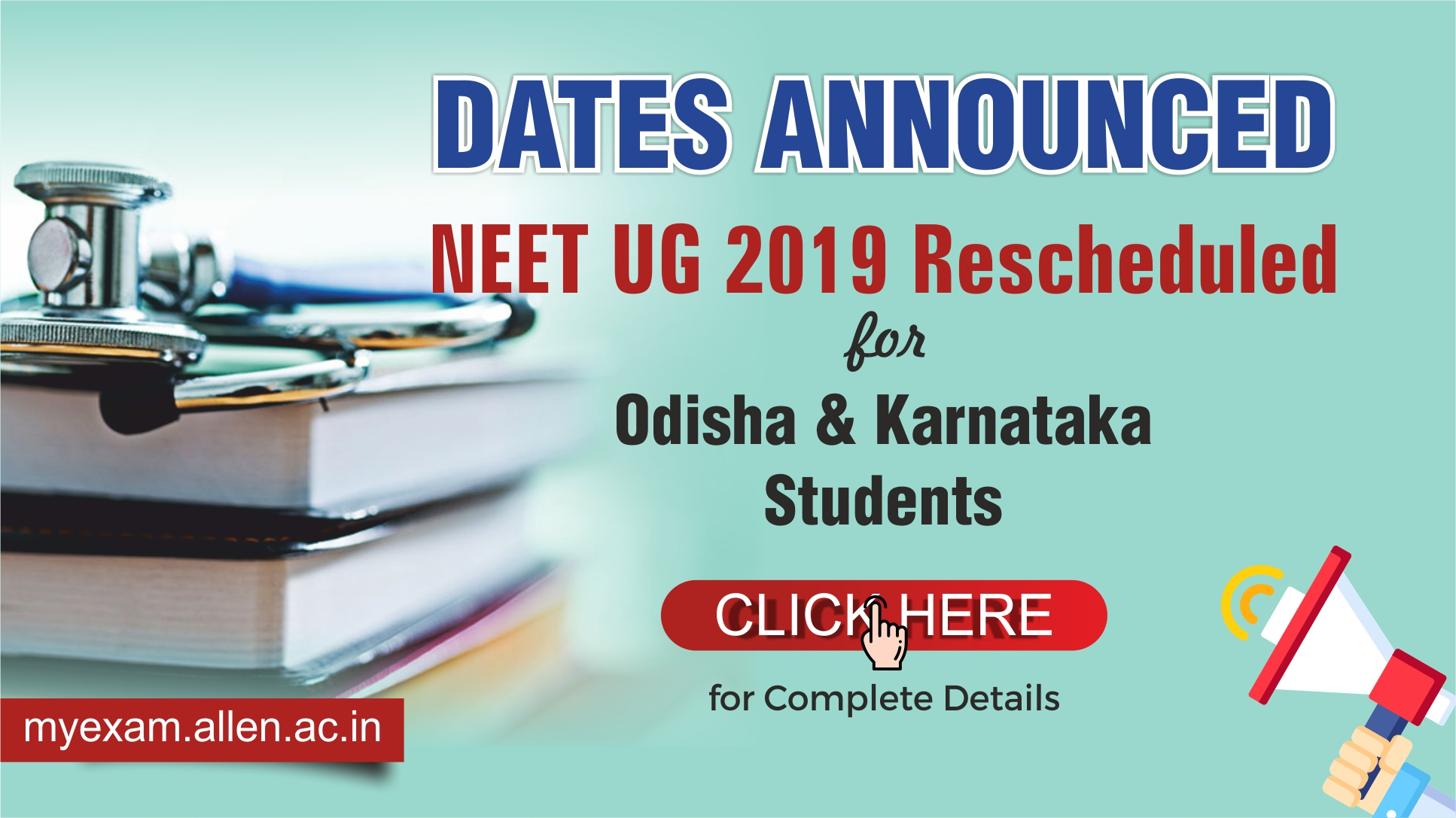 Rescheduling of the NEET UG 2019 exam