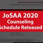 JoSAA 2020 Counseling Schedule Released