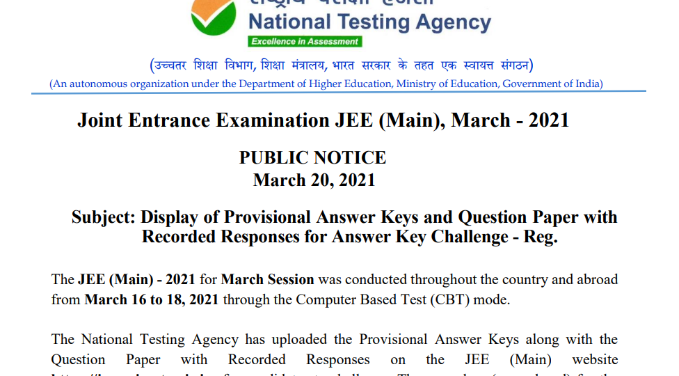 jee main 2021 march attempt answer key