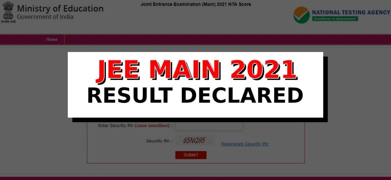 JEE Main 2021 Result update